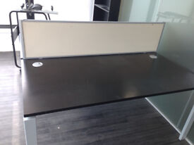 office desk black top workstation with divider
