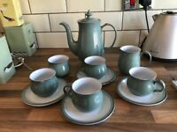 Denby green tea coffee pot and breakfast set