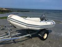 2.8 meter rib boat with trailer and 4hp outboard
