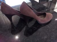 Ladies brown swede look court shoes size 6