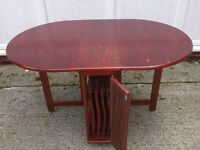 Integral folding table and 4 chairs