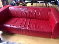3 seater Sofa in red leather, excellent quality, stylish and comfy / open to offers