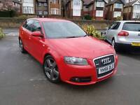2007 AUDI A3 2.0 TDI 170BHP S LINE MANUAL 5 DOOR SPORTBACK RED F.S.H 12 MONTHS MOT 2 OWNERS