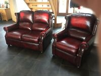 Vintage chesterfield leather sofa and leather chair (Thomas Lloyd)
