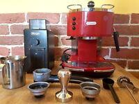 Delonghi Icona Coffe Machine + Burr Coffee Grinder DeLonghi KG79