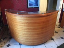Beautiful Italian Glass Topped Curved Reception Desk
