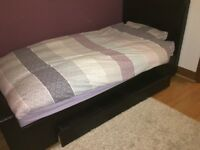 Brown leather single bed with large drawer good condition