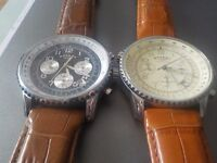 2 x MENS ROTARY CHRONOGRAPH WATCHES, LEATHER STRAPS