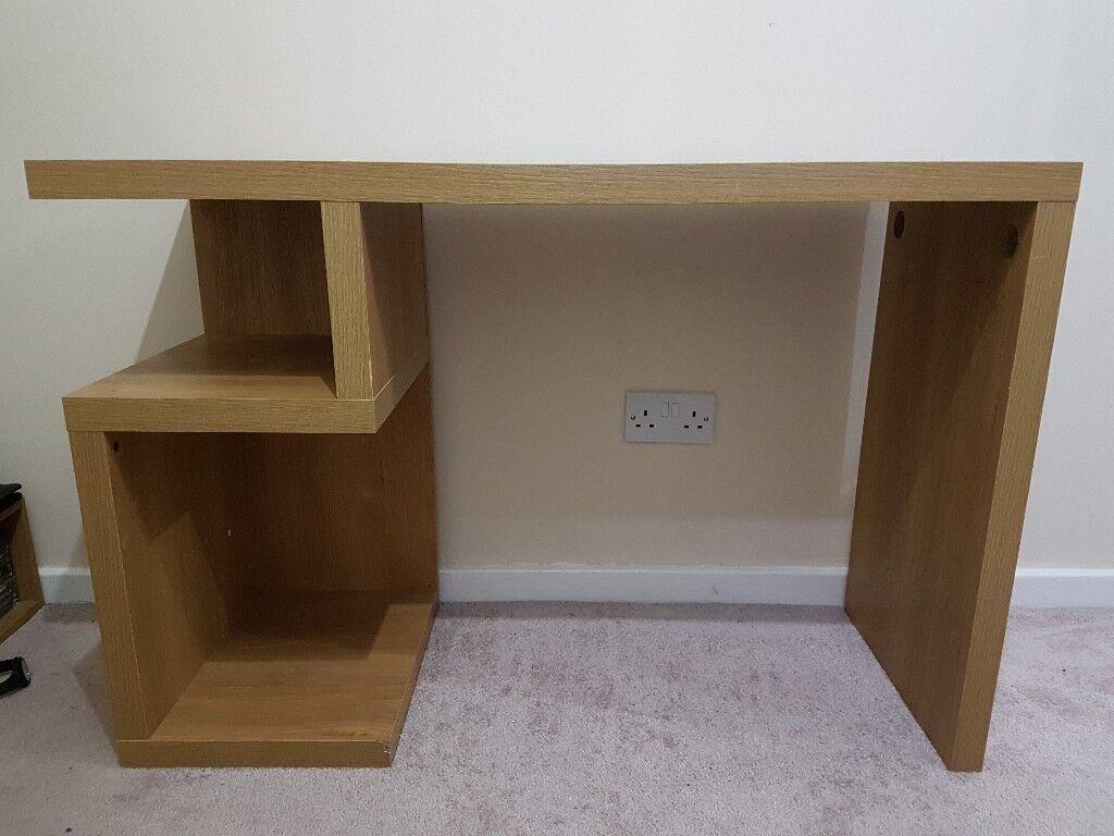 Next opus oak desk and floating shelf