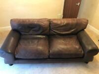 Leather brown vintage leather sofa