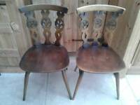 PAIR OF ERCOL DINING CHAIRS KITCHEN DINING ROOM SOUND SOLID