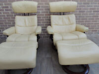 Ekorness Stressless Armchairs x pair + Footstools (UK Delivery)