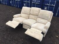 Italian Fabric 3 Seater Sofa Hand Recliner Excellent Condition, Free delivery In Norwich,