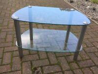 Two tier, glass TV stand