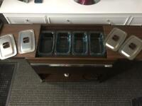 hostess trolley 4 dishes, lots more items, household children, lego table, glasses, sideboard,