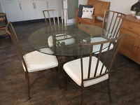 Glass Dining Table and 4 Chairs with Free Standard Lamp