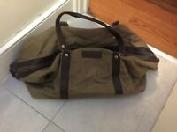 Classic brown canvas holdall bag
