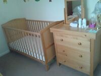cotbed with mattress and 3 drawer dresser £99 collection only