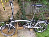 Brompton m3r grey Fold up bike.