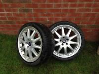 """2of 18"""" FORD ALLOY WHEELS WITH TYRES REMOVED FROM A MONDEO GHIA X"""