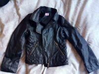 Girls leather look biker jacket 6-7