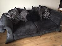2 Charcoal Grey Fabric 3 seater sofas