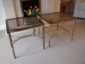 2 no. solid brass side tables 450x450 550 high with glass tops
