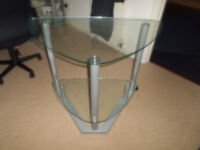 Corner computer table, two tier glass tops..