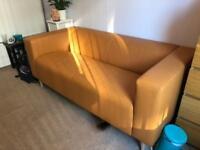 Orange/Tan Faux Leather Sofa Ikea Klippan £70 O.N.O.