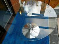 110cm round dining table glass and metal no chairs