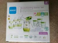 MAM breastfeeding set - bottles, manual pump, storage tubs, teats