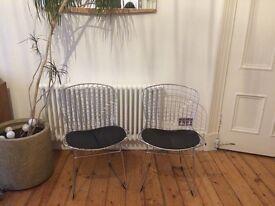 Pair of replica Bertoia side chairs
