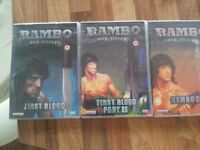 Rambo trilogy, incl First Blood, Rambo II & Rambo III all in boxed set £5 txt for quick response