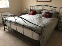 Black Metal Super King Bed Frame with Matress and matching side tables