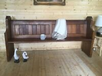 Antique 6ft solid pine church pew settle monks bench hall seat with bible shelf