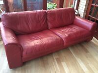 Leather Sofa 3 seater, burgundy red