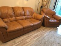 Three seater sofa and chair tan leather