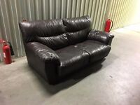 Leather sofa bed in good condition - 2 seater // free delivery