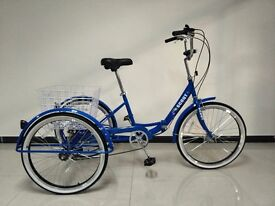 "Adults folding tricycle, folding frame, 24"" wheels, 6-speed shimano gears, from BuyTricycle, SCOUT"
