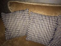 NEXT Cushions x4 Large 50cm x 50cm Navy & Cream
