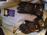 Motorcycle jacket & gloves.