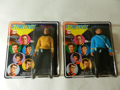 VINTAGE 1974 MEGO STAR TREK ACTION FIGURES- CAPT. KIRK & SPOCK-NOC- SPACE TOY