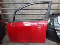 HONDA JAZZ FRONT SIDE PASSENGER DOOR PANEL SHELL ONLY 2009-2013 RED PERFECT CONDITION £120.00 ONO