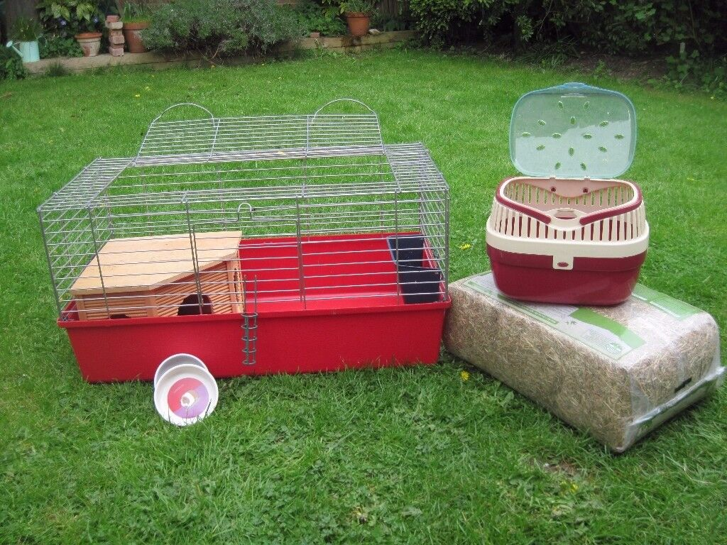 Small Pet / Guinea Pig Indoor Cage with Home, Hay,Feeding bowls and Carry Case