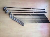 full set hippo golf clubs 3-si irons. 1-3-5 woods. + golf stand bag £70 +£20
