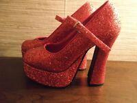 red spakley heels 4, fancy dress, dorothy, red devil, halloween shoes