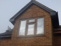 NUMEROUS, ASSORTED SIZE, MID-BROWN DOUBLE GLAZED UPVC WINDOWS FROM £50