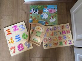 Wooden jigsaws x 4