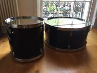 Set of 2 DFS Drum-Shaped Coffee Tables w. Mirrored Tops