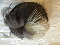 Silver and cream Feather fascinator